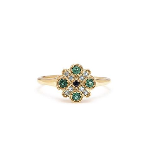 Four Cross Emerald Ring