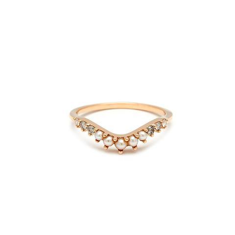 Tiara Curve Diamond & Seed Pearl Ring