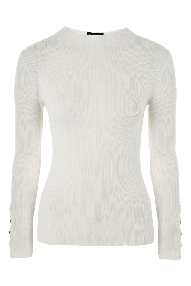 Ribbed Funnel Neck Popper Detail Top