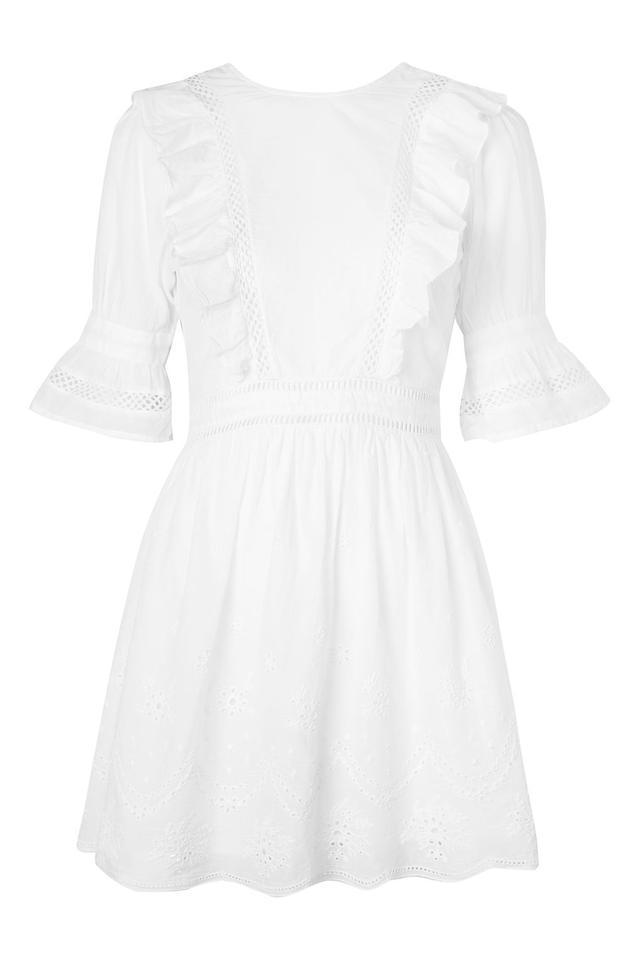 Broderie Ruffle Mini Dress