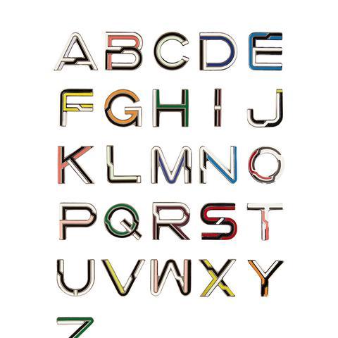 Alphabet Enameled Brooches