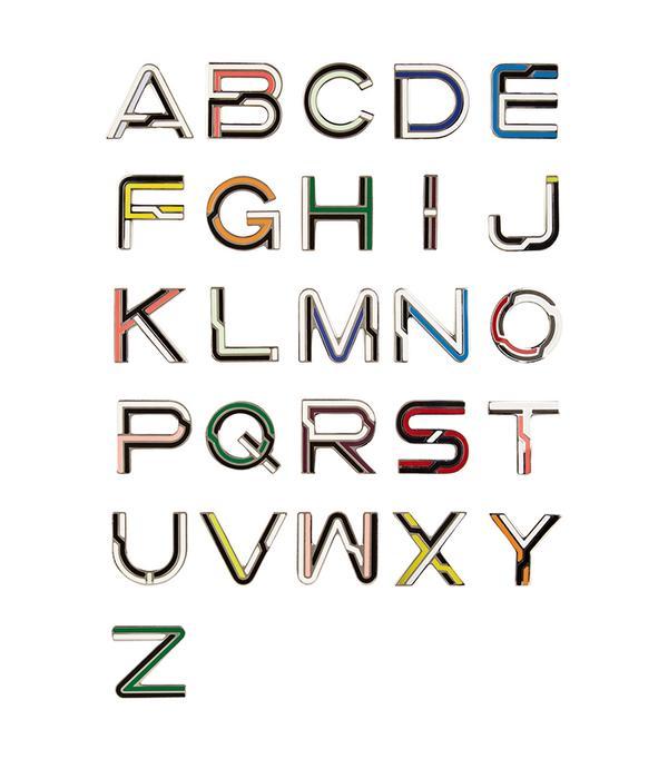- Alphabet Enameled Brooches - Multi