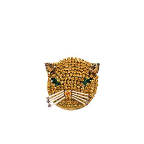 Crystal Embellished Cat Brooch