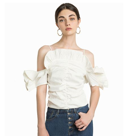 Brie Linen Ruffled Strappy Top