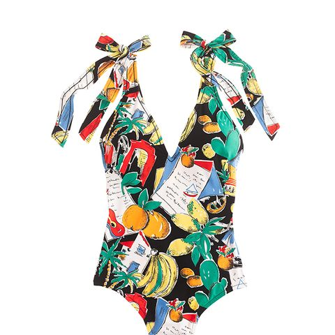 Tie-Shoulder One-Piece Swimsuit in Postcard Print