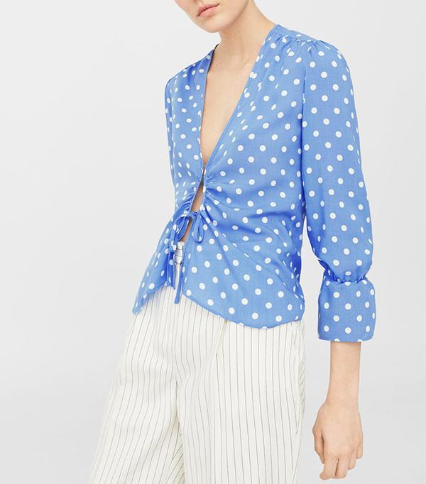 Bow polka-dot blouse