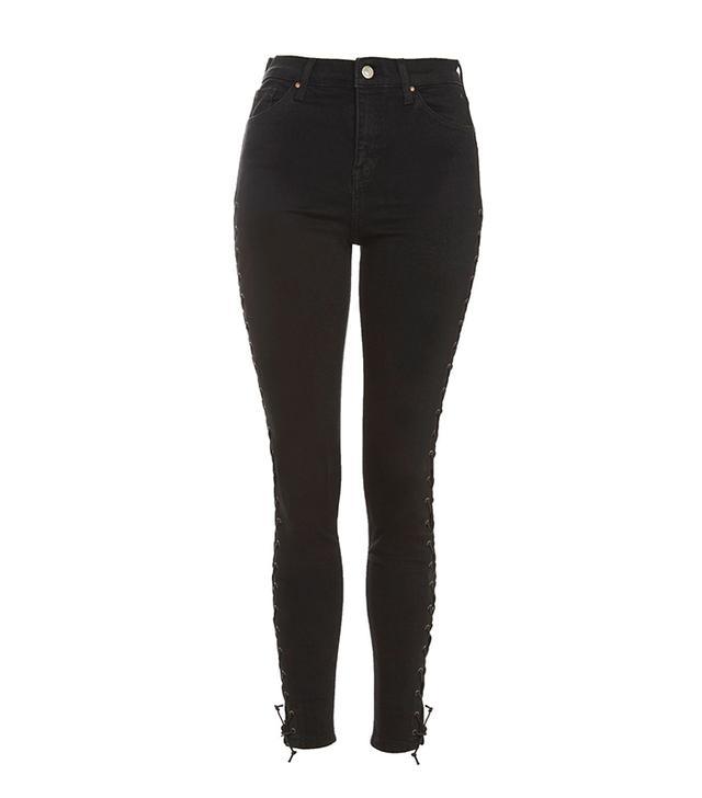 MOTO Black Lace up Jamie Jeans