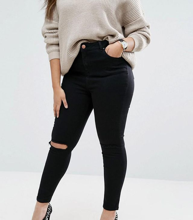 ASOS CURVE Ridley Skinny Jeans in Clean Black with Rip & Destroy Busts