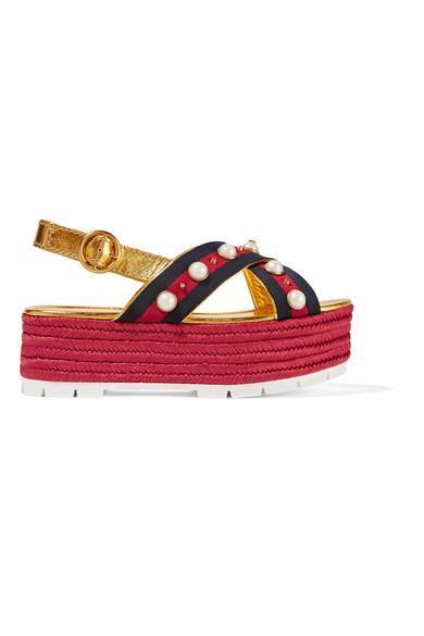 Embellished Metallic Leather Espadrille Platform Sandals