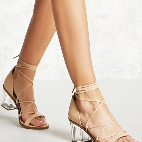 Ankle-Wrap Lucite Heels