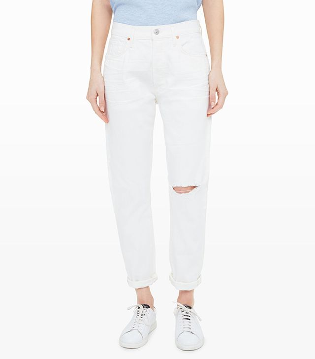 Citizens of Humanity Liya High Rise Classic Fit in Distressed Selvedge White