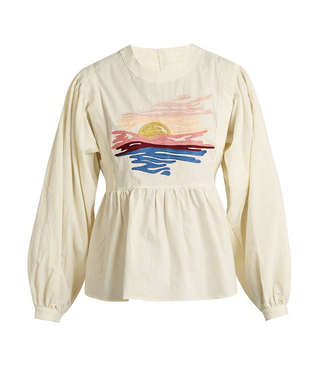 Sunset-embroidered long-sleeved cotton blouse