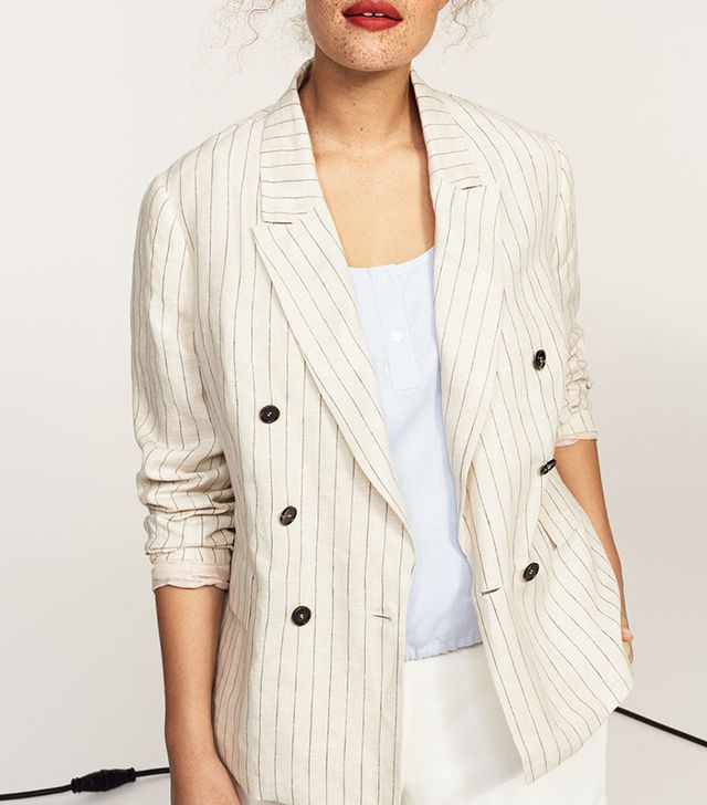 Violeta by Mango Striped Linen Blazer