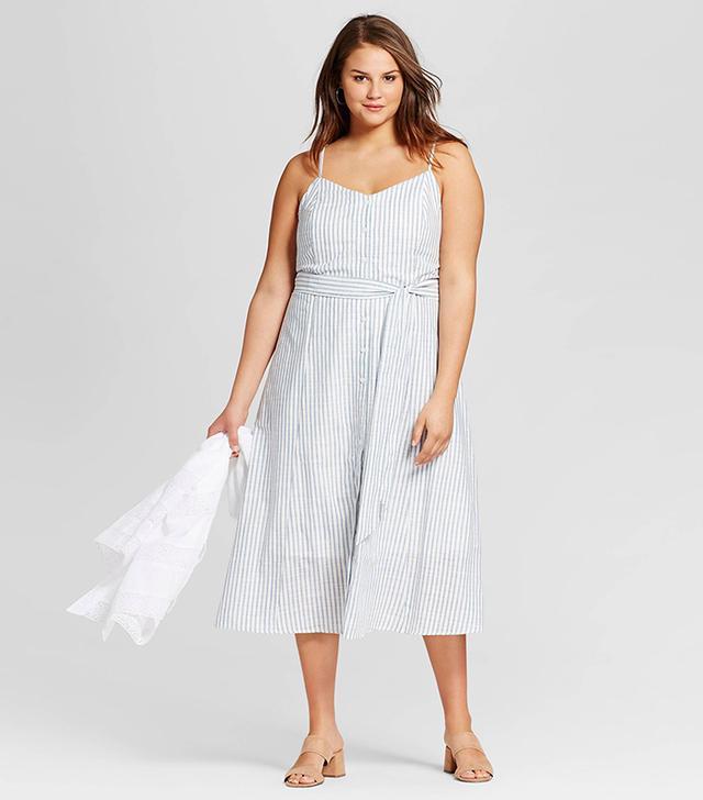 Who What Wear Button-Down Tank Dress in Blue Stripe
