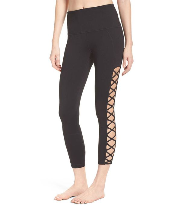 Lace It Up High Waist Midi Leggings