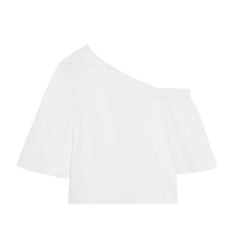 One-Shoulder Cotton-Poplin Top