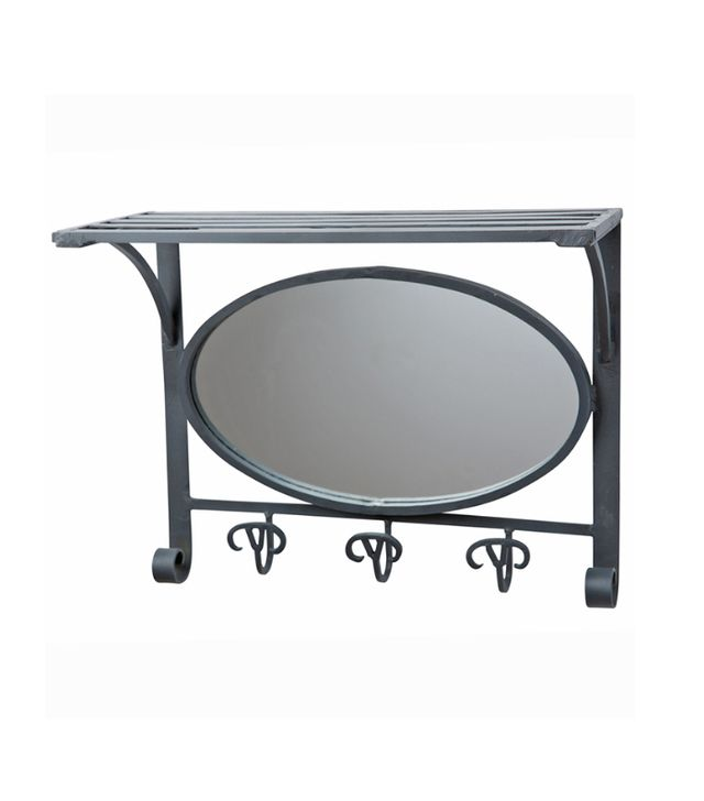 Raw Wrought Iron Hall Mirror w/ Hook Rack