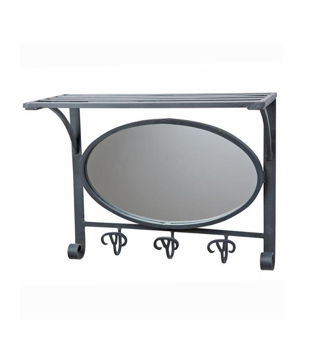 Raw Wrought Iron Hall Mirror W Hook Rack