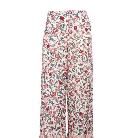 Cropped Ruffled Floral-Print Crepe de Chine Wide-Leg Pants