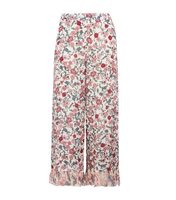 Graduation outfit ideas: Cropped Ruffled Floral-Print Crepe De Chine Wide-Leg Pants
