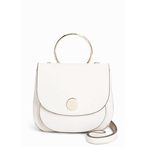 White Circle Detail Saddle Bag