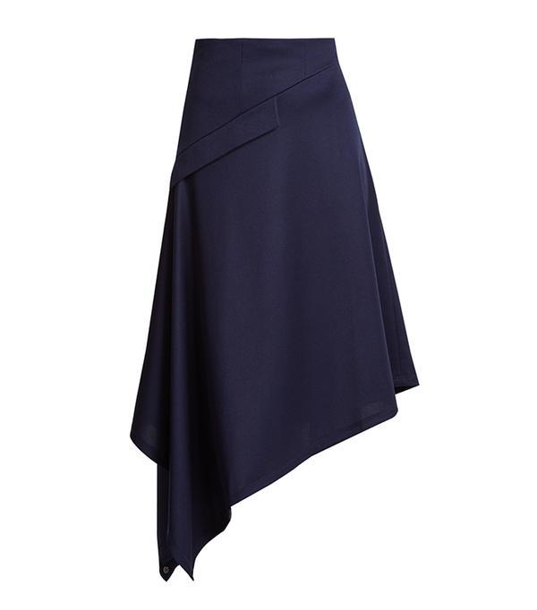 Asymmetric-hem midi skirt