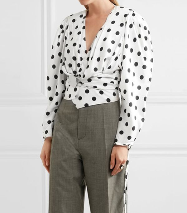 Cropped Gathered Polka-dot Poplin Blouse