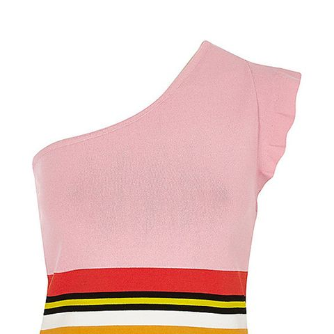 Pink Knit Stripe One Shoulder Crop Top