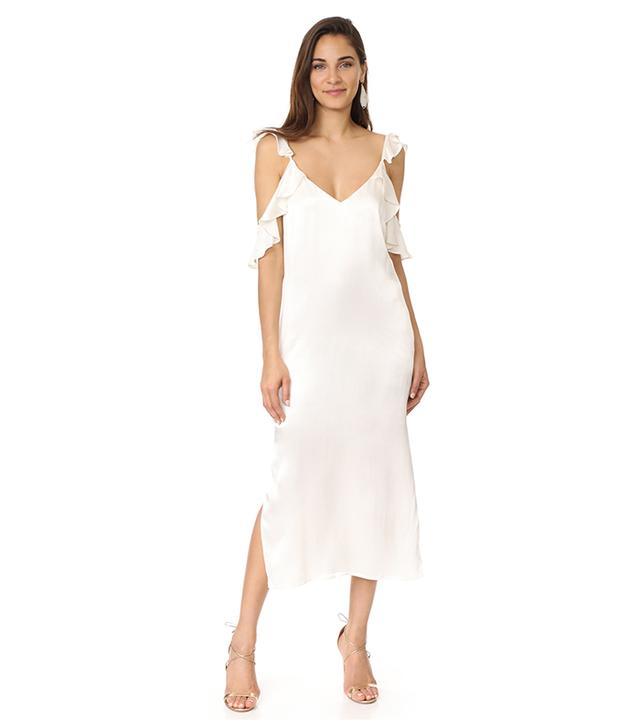 Costa Ruffle Cold Shoulder Slip Dress