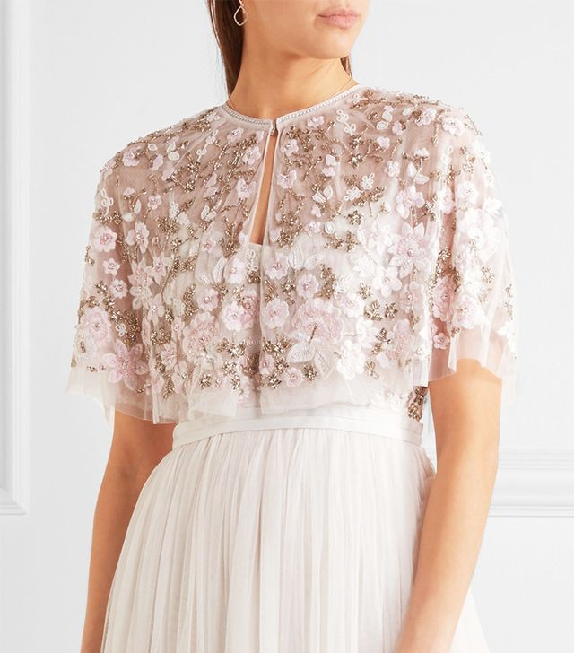 Lace-trimmed Embellished Tulle Cape