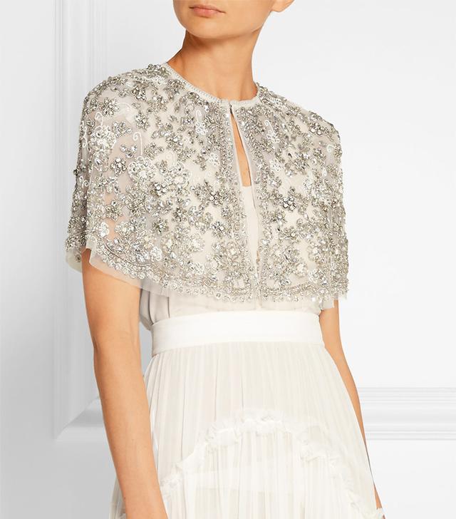 Bridal Cropped Embellished Tulle Cape