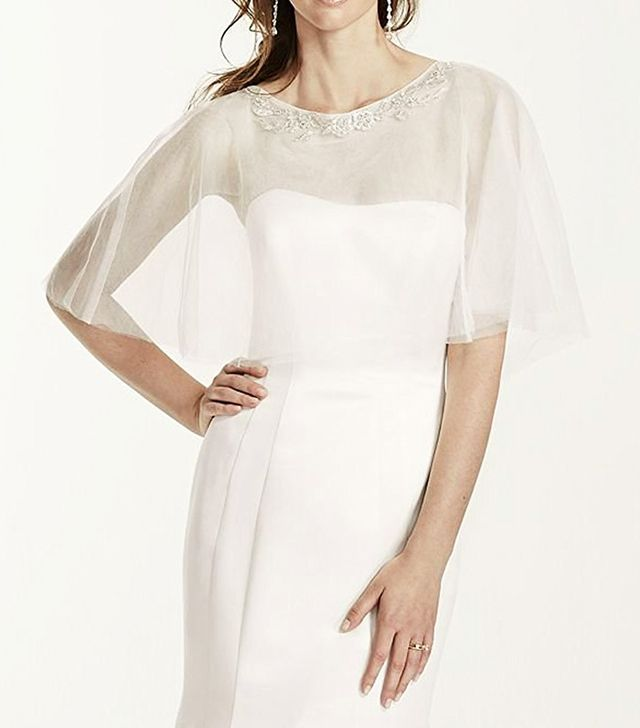 David's Bridal Tulle Cape With Detailed Neckline