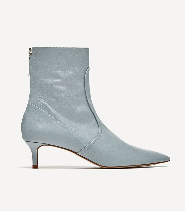 Zara Mid-Heel Leather Ankle Boots