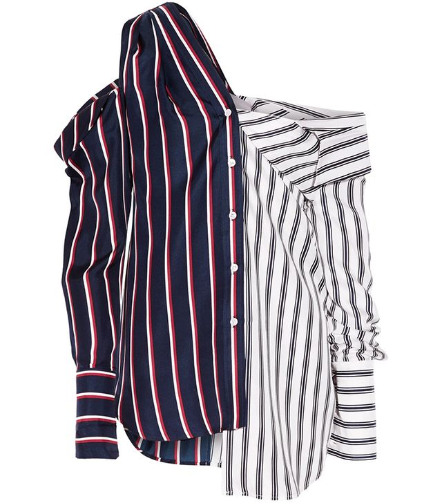 Cold-Shoulder Striped Silk-Satin Shirt