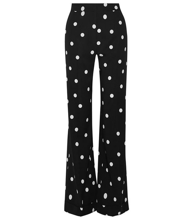 Polka-dot Silk-blend Crepe Wide-leg Pants