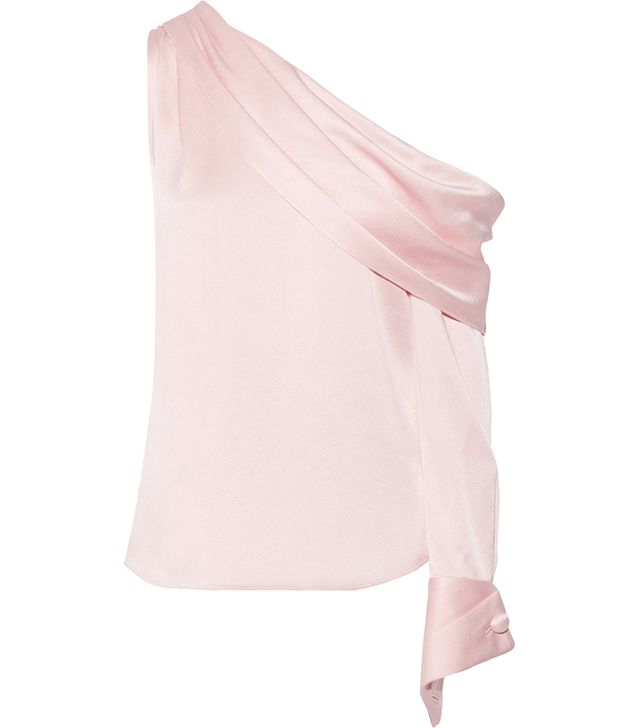 One-shoulder Draped Satin Blouse