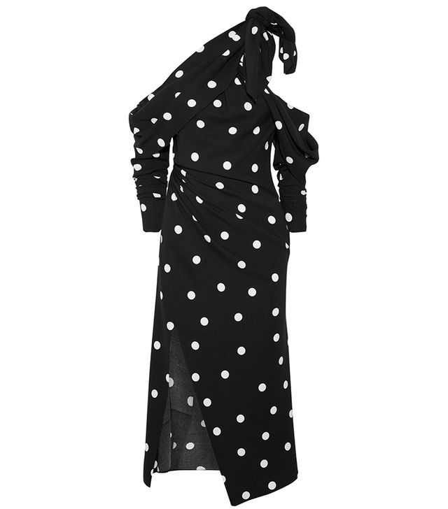 Cold-shoulder Polka-dot Silk-blend Crepe Midi Dress