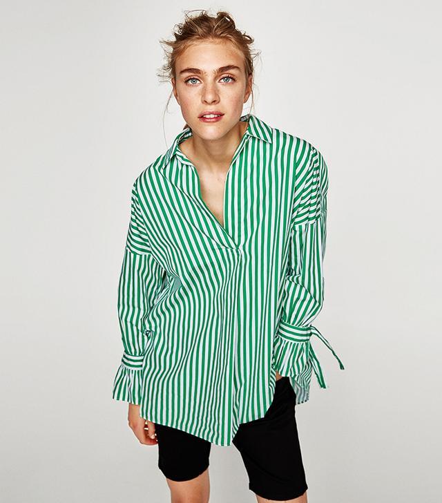 Zara Poplin Shirt With Bows