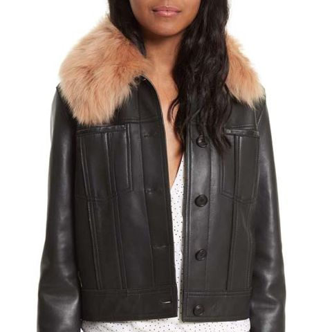Faux-Fur Collar Leather Jacket