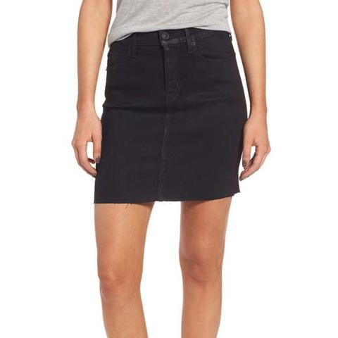 Robbie High-Waist Coated Denim Miniskirt