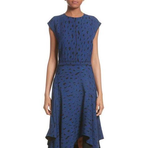 Print Silk Georgette Midi Dress