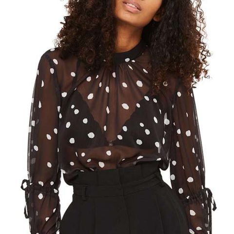 Drawstring Sleeve Sheer Dot Blouse