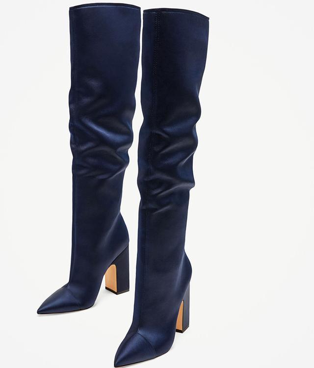 Zara Sateen High Heel Boots in Navy Blue