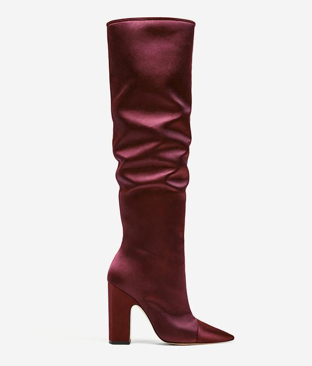 Zara Sateen High Heel Boots in Burgundy