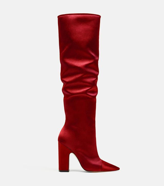 Zara Sateen High Heel Boots in Red