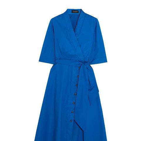 Mae-B Wrap-Effect Cotton-Blend Poplin Midi Dress