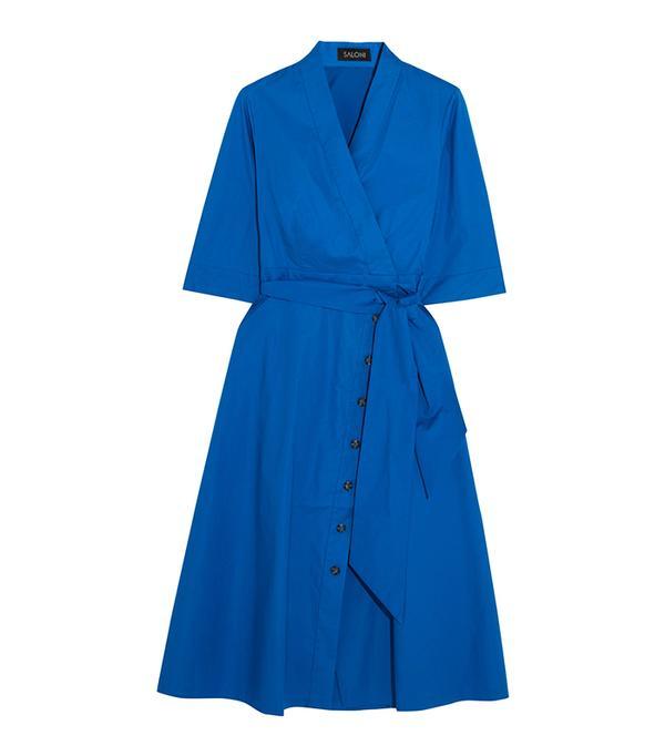 Best Summer Dresses for Work: Mae-b Wrap-effect Cotton-blend Poplin Midi Dress