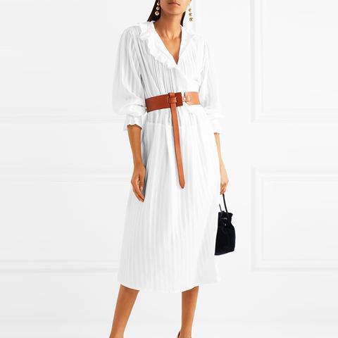 Broderie Anglaise-Trimmed Cotton-Sateen Shirt Dress