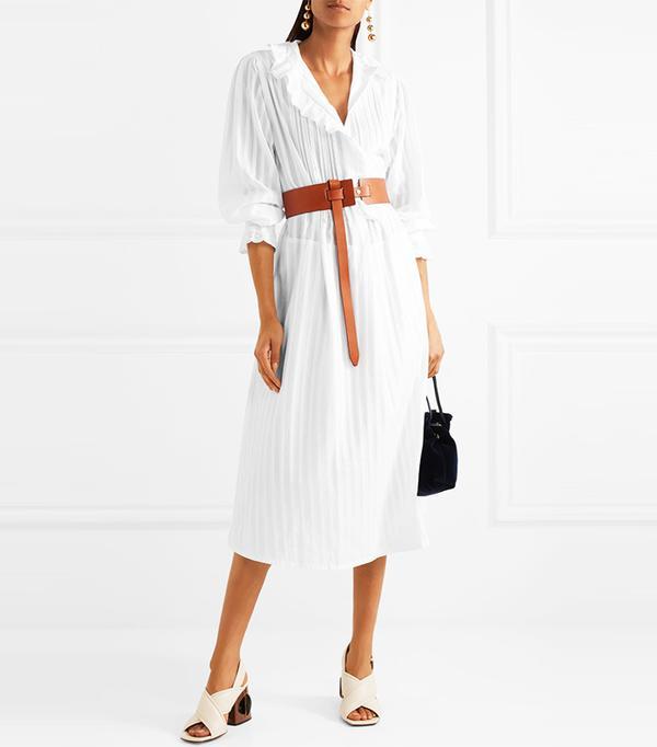 Best Summer Dresses for Work: Broderie Anglaise-trimmed Cotton-sateen Shirt Dress