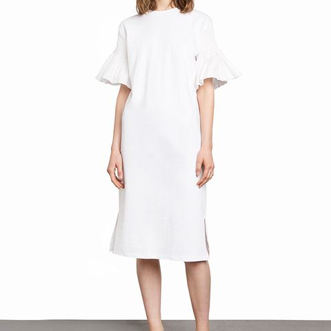 White Smocked Rufled Sleeve Tee Dress